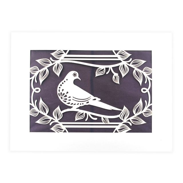 Blank Lasercut Dove Notecard by Two Hermanas