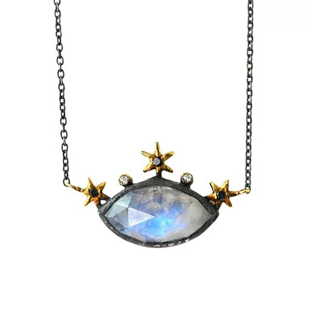 Celestial Evil Eye Moonstone Necklace by Acanthus Jewelry