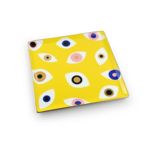 Evil Eye Catchall Tray: Yellow