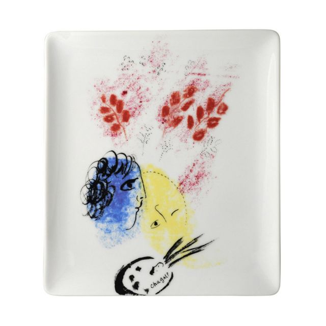 Marc Chagall Double Face Blue and Yellow Plate by Bernardaud