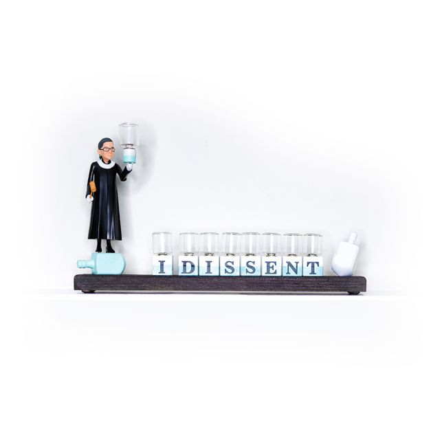 """Ruth Bader Ginsburg """"I Dissent"""" Menorah with Oil Cups"""