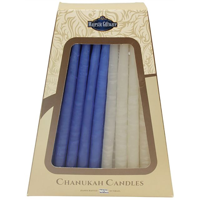 Safed Solid Blue and White Hanukkah Candles