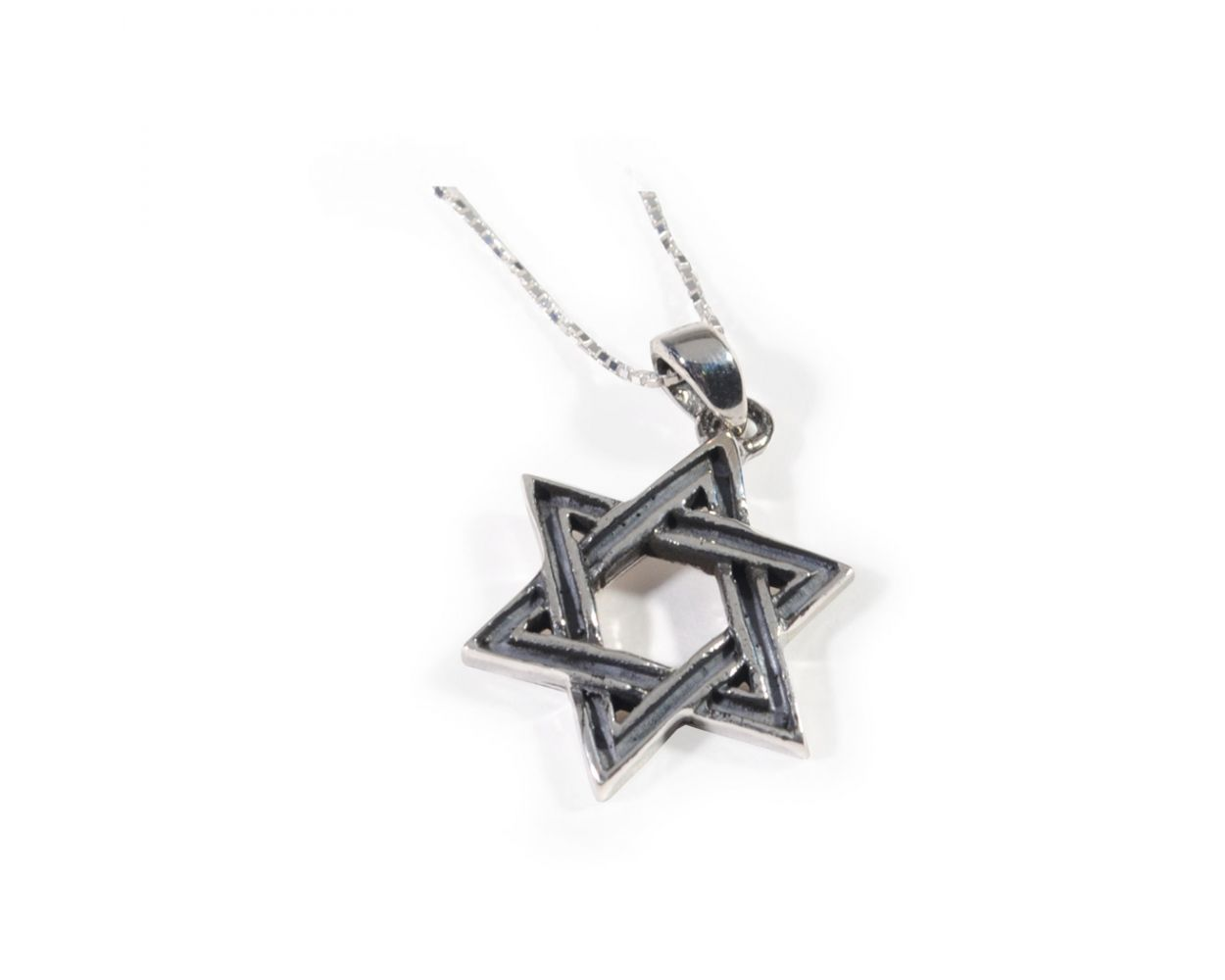 Jewels Obsession Silver Star Of David Necklace Rhodium-plated 925 Silver Star of David with Menorah Pendant with 18 Necklace